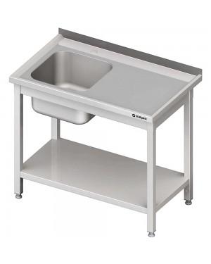 Stół ze zlewem 1-kom.(L),z półką 1000x600x850 mm spawany