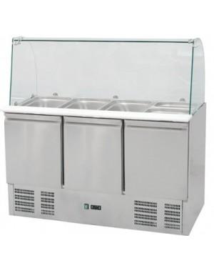 Stół chłodniczy sałatkowy z nadstawą szklaną 392 l +2/+8°C 1365x700x1300