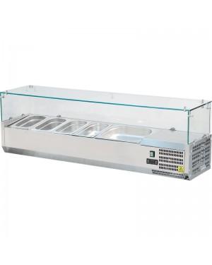 Witryna chłodnicza nastawna 6xGN 1/4 1400x335x435 mm z szybą