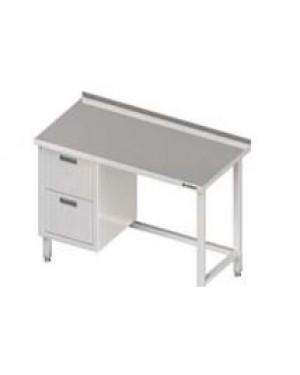 Stół przyścienny z blokiem dwóch szuflad (L),bez półki 800x600x850 mm