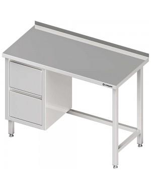Stół przyścienny z blokiem dwóch szuflad (L),bez półki 1300x600x850 mm