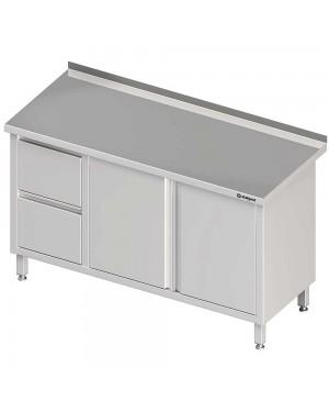 Stół przyścienny z blokiem dwóch szuflad (L),drzwi skrzydłowe 1300x700x850 mm