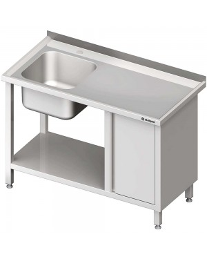 Stół ze zlew 1-kom.(L), z szafką i półką 1700x600x850 mm