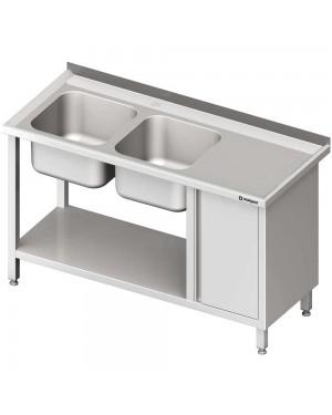 Stół ze zlew 2-kom.(L), z szafką i półką 1400x700x850 mm