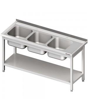 Stół ze zlewem 3-kom.(L),z półką 1500x600x850 mm spawany