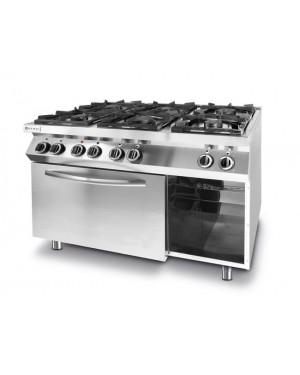 Kuchnia gazowa 6-palnikowa Kitchen Line z konwekcyjnym piekarnikiem elektrycznym GN 1/1