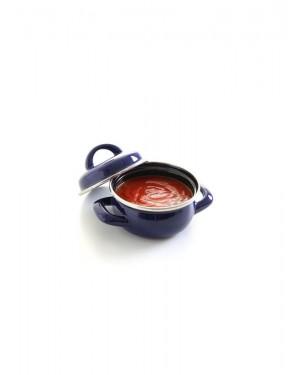 Garnek do zup i sosów z pokrywką niebieski pojemność 0,4 l