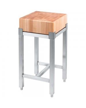 Kloc masarski drewniany 400x500x800 mm na podstawie ze stali nierdzewnej