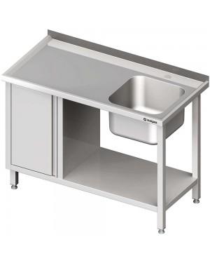 Stół ze zlew 1-kom.(P), z szafką i półką 1000x600x850 mm