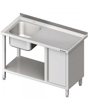 Stół ze zlew 1-kom.(L), z szafką i półką 1300x700x850 mm