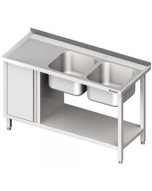 Stół ze zlew 2-kom.(P), z szafką i półką 1600x600x850 mm