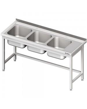 Stół ze zlewem 3-kom.(L),bez półki 1500x600x850 mm
