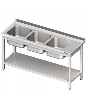 Stół ze zlewem 3-kom.(L),z półką 1600x600x850 mm spawany