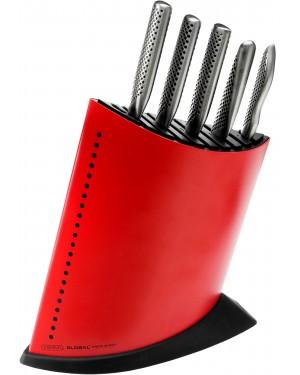 Komplet 5 noży w czerwonym bloku Global GKB-52CR-SET5