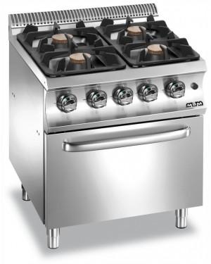 Kuchnia gazowa 4 palnikowa z piekarnikiem elektrycznym GN 2/1 MBM
