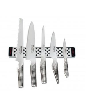 Listwa magnetyczna 31cm z 5 nożami | Global G-4231-SET5